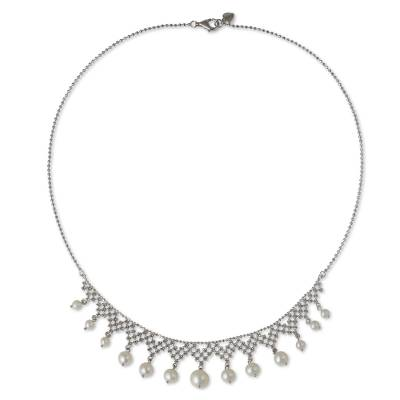 Collar Style Necklace with Cultured Pearls and Silver
