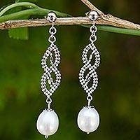 Cultured pearl and sterling silver dangle earrings, 'Serpentine Charm' - Unique Dangle Earrings with Sterling Silver Chain and Pearls