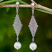 Cultured pearl dangle earrings, 'Modern Muse' - Contemporary Pearl Dangle Earrings in Sterling Silver
