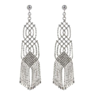 Sterling silver waterfall earrings, 'Macrame Inspiration' - Waterfall Earrings Handcrafted from Sterling Silver Chains