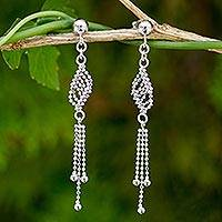 Sterling silver waterfall earrings, 'Silver Flume' - Handmade Sterling Silver Ball Chain Waterfall Earrings