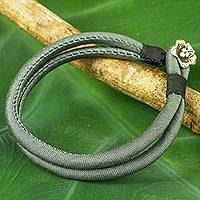 Silver accent silk cord bracelet, 'Grey Karen Blossom' - Thai Grey Silk Handcrafted Bracelet with Hill Tribe Silver