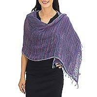 Cotton shawl, 'Breeze of Blue Purple' - Hand Woven Cotton Shawl Thai Blue Purple Wrap