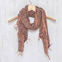 Cotton shawl, 'Breeze of Brown Purple' - Hand Spun Cotton Shawl Wrap in Brown Purple and Pink