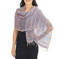 Cotton shawl, 'Breeze of Blue Pink' - Blue Pink and Brown Hand Woven Cotton Shawl Thai Wrap