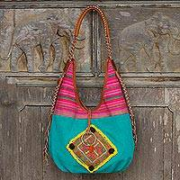Leather accent cotton shoulder bag, 'Festive Karen' - Festive Handwoven Handbag with Leather and Embroidery