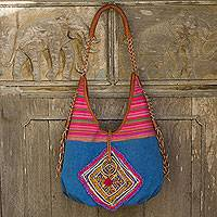 Leather accent cotton shoulder bag, 'Festive Karen Blue' - Festive Handwoven Handbag with Leather and Embroidery