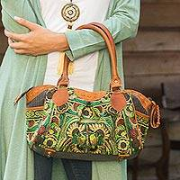 Leather accent baguette handbag, 'Mandarin Green'