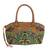 Leather accent baguette handbag, 'Mandarin Green' - Thai Hill Tribe Embroidered Leather Accent Handbag (image 2a) thumbail