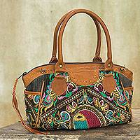 Leather accent baguette handbag, 'Hill Tribe Bees' - Thai Hill Tribe Embroidered Leather Accent Handbag
