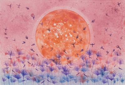 Birds at Sunrise Watercolor Monoprint from Thailand