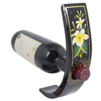 Thai Handcrafted Flower Theme Wood Wine Bottle Holder