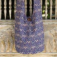 Cotton sling bag, 'Golden Royal' - Gold and Royal Blue Handcrafted Thai Cotton Sling Tote Bag