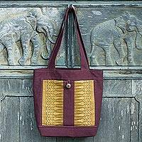 Cotton tote bag, 'Beautiful Chiang Mai in Brown' - Dark Brown Cotton Tote Bag with Golden Brocade Panel