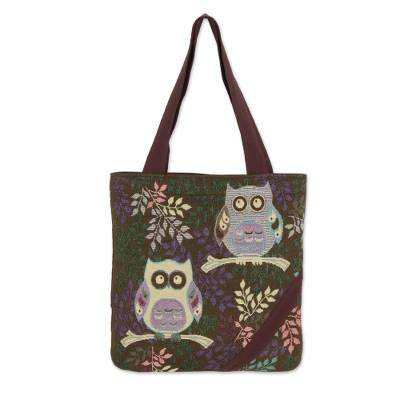 Forest Owls Cotton Blend Tote Bag in White and Brown