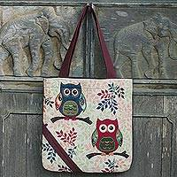 Cotton blend tote bag, 'Playful Owls' (15 in.) - Forest Owls 15-Inch Cotton Blend Tote Bag in White and Brown