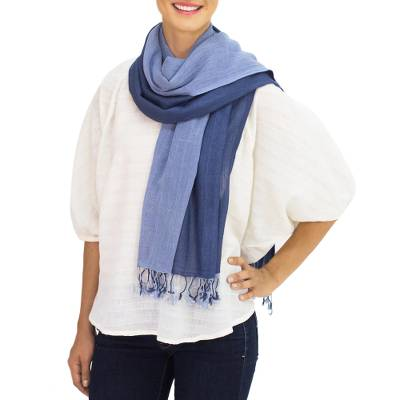 Cotton reversible scarf, 'Blue Duet' - Hand Spun Cotton Reversible Scarf in Light and Dark Blue