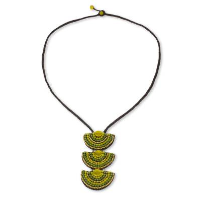 Quartz beaded necklace, 'Sisters in Yellow' - Thai Necklace with Yellow and Green Quartz and Brass Beads