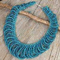 Quartz beaded necklace, 'Boho Blue' - Blue Quartz Beaded Necklace Artisan Crafted Jewelry