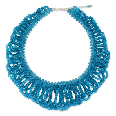 Blue Quartz Beaded Necklace Artisan Crafted Jewelry