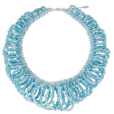 Light Blue Quartz Beaded Necklace Crafted by Hand