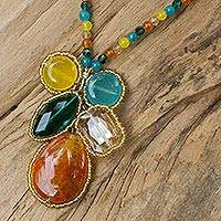 Quartz pendant necklace, Bright Bohemian Bouquet