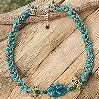 Braided pendant necklace Modern Bohemian in Teal (Thailand)
