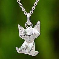 Sterling silver pendant necklace, 'Origami Cat' - Brushed Sterling Cat Pendant Necklace with Origami Design