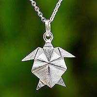 Sterling silver pendant necklace, 'Origami Turtle' - Origami Style Turtle Pendant Necklace in Sterling Silver
