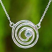 Blue topaz pendant necklace, 'My World' - Blue Topaz and Sterling Silver Spiral Pendant Necklace