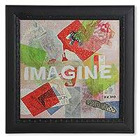'Imagine' - Unique Mixed Media Framed Collage from Thailand