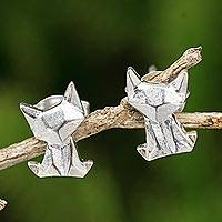 Sterling silver button earrings, 'Origami Cat' - Origami Style Cat Earrings in Brushed 925 Silver