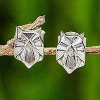 Sterling silver button earrings, 'Origami Owl' - Button Earrings of Origami Owls in Brushed Satin Silver