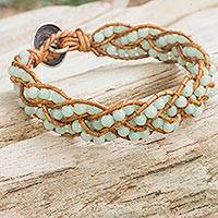 Amazonite braided bracelet, 'Cool Hydrangea' - Handcrafted Beaded Amazonite and Silver Women's Bracelet