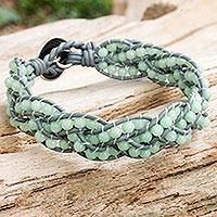 Amazonite braided bracelet, 'Sweet Hydrangea' - Handcrafted Amazonite Women's Bracelet with Grey Leather