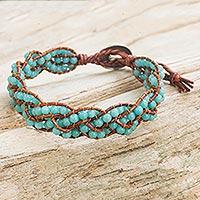 Amazonite braided bracelet, 'Blue Hydrangea' - Women's Beaded Amazonite Braids and Silver Button Bracelet