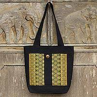 Cotton tote bag, 'Chiang May Celebration' - Black Cotton Tote Handbag with Golden Brocade Flowers