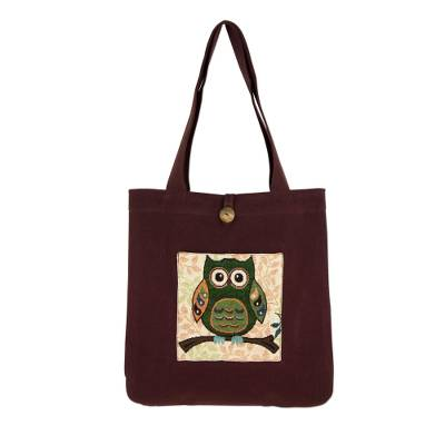 Forest Owl Cotton Blend 14 Inch Tote Bag in White and Brown