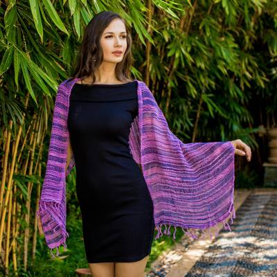 Cotton shawl, 'Spring Melange' - Soft Purple and Blue Open Weave Cotton Shawl
