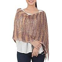 Cotton shawl, 'Autumn Melange' - Handwoven Cotton Open Weave Shawl in Brown and Yellow