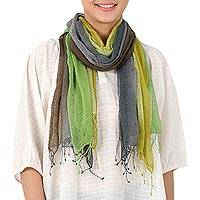 Silk scarves, 'Spring Fusion' (pair) - Handwoven Bright Green and Grey Silk Scarves (Pair)