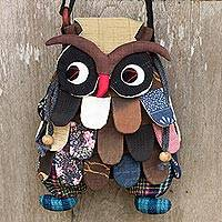 Cotton shoulder bag, 'Friendly Owl' - Artisan Crafted Playful Patchwork Cotton Owl Shoulder Bag