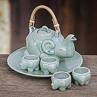 Celadon tea set, 'Green Elephant Family' (set for 4) - Elephant Theme Green Thai Celadon Tea Set for 4