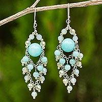 Featured review for Blue quartz chandelier earrings, Brilliant Meteor