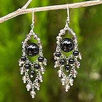 Onyx chandelier earrings, 'Brilliant Meteor' - Chandelier Style Earrings with Onyx and Glass Beads