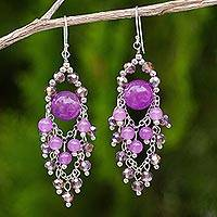 Purple quartz chandelier earrings, 'Brilliant Meteor' - Purple Beaded Chandelier Earrings with Quartz and Glass