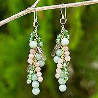Green quartz waterfall earrings, 'Brilliant Cascade' - Quartz and Glass Bead Waterfall Earrings in Green Shades