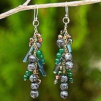 Labradorite waterfall earrings, 'Brilliant Cascade' - Waterfall Style Earrings with Labradorite and Quartz Beads