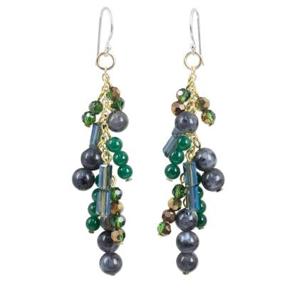 Waterfall Style Earrings with Labradorite and Quartz Beads