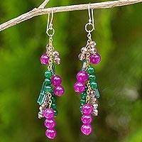 Green and purple quartz waterfall earrings, 'Brilliant Cascade' - 24k Gold Plated Silver and Quartz Waterfall Earrings